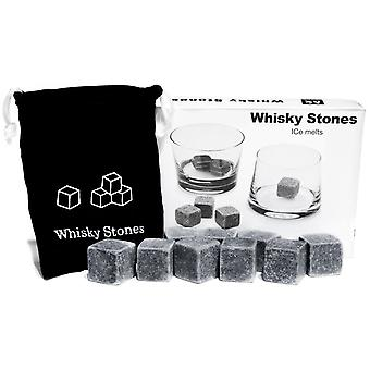 9 PCS Whisky Rocks Chilling Pierres Ice Cubes boissons Cooler Scotch whisky sur les rochers de granit avec un Muslin Pouch