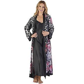 Slenderella GL2786 Women's Animal Satin Floral Kimono and Nightdress Set