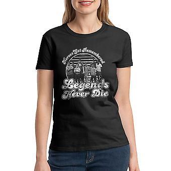 Sandlot Heroes Get Remembered Legends Never Die Cast Women's Black T-shirt