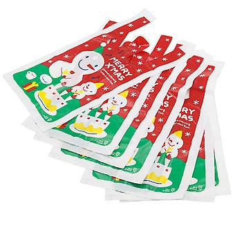 TRIXES 10 Merry Xmas Plastic Small Shopping Gift Bags