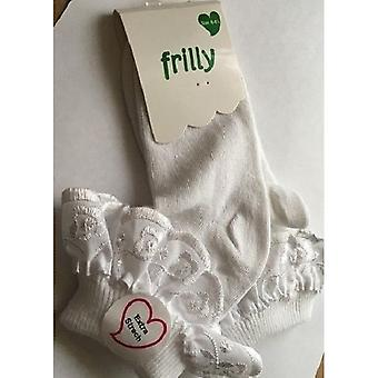 Baby/Girls Cotton Rich Lace Frilly Top Socks With Floral Design (Pack Of 3)