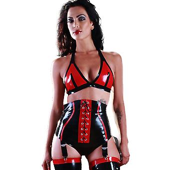 Skin Two Clothing Women's Sexy Knickers Lingerie Outfit in Rubber Black & Red
