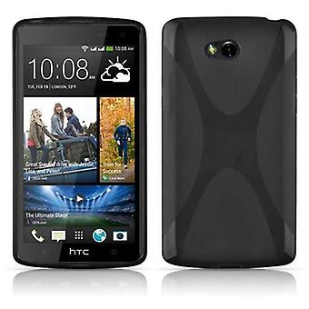 Cadorabo case for HTC desire 600 - case in Black - oxide cell envelope of flexible TPU silicone X-line design - silicone case cover soft back cover case bumper