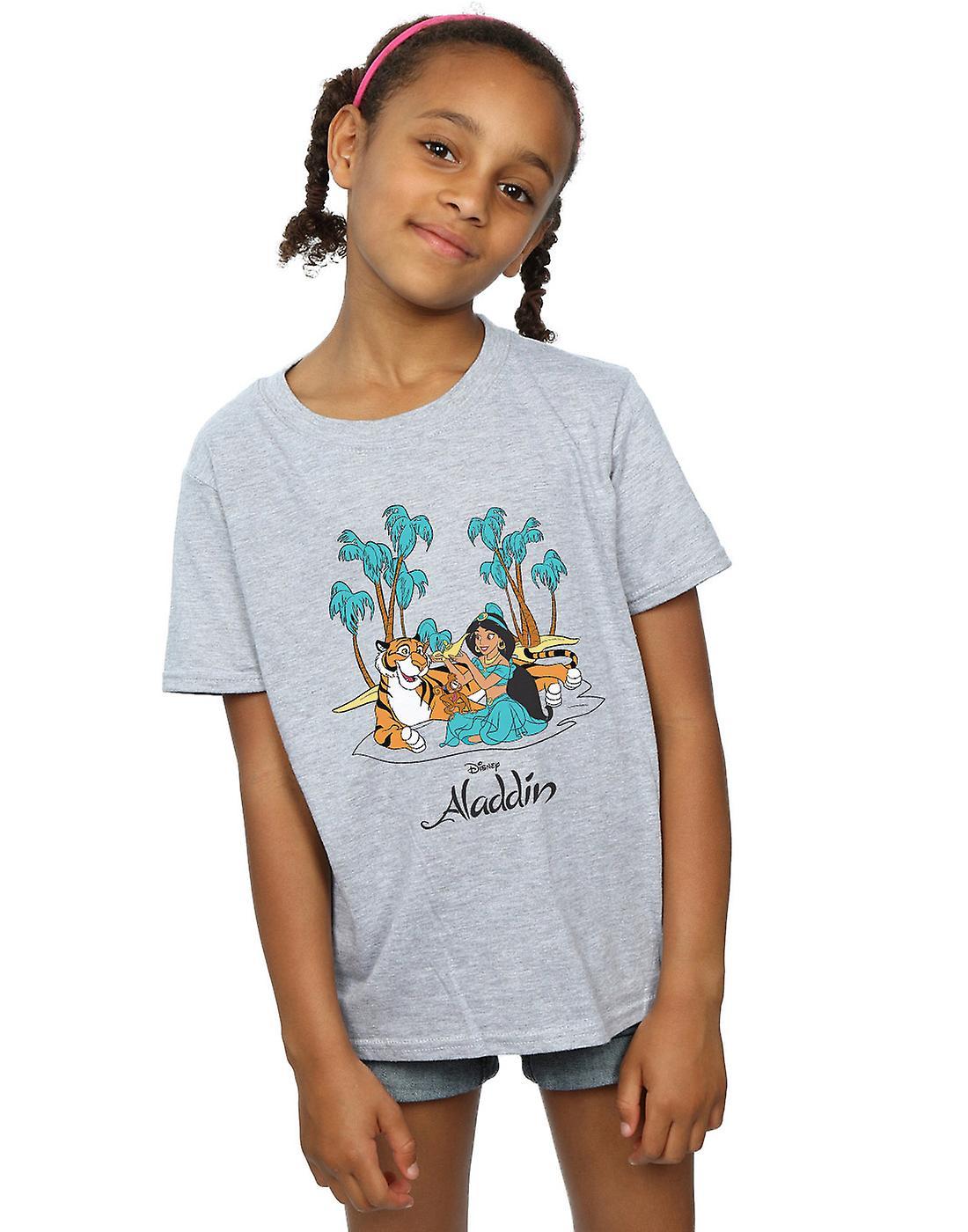 Disney Girls Aladdin Jasmine Abu Rajah Beach T-Shirt