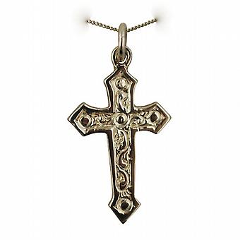 9ct Gold 28x17mm Fancy embossed pattern Cross with a curb Chain 20 inches Only Suitable for Children