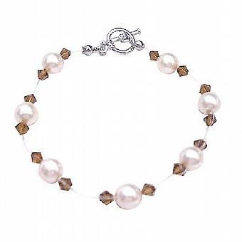 Flower Girl Jewelry Ivory Pearls Smoked Topaz Crystals Bracelet