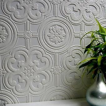 Papel tapiz pintable en relieve con textura de lujo vinilo fácil aplicar Egon Anaglypta