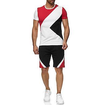 Herre Sports sæt T-Shirt Shorts Kombi farve-blokering kortærmet trøje og bukser