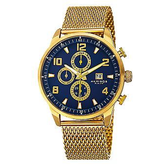 Akirbos XXIV AK784YGBU mannen Swiss Quartz multifunctionele dual time roestvrijstaal mesh Gold-Tone armband watc