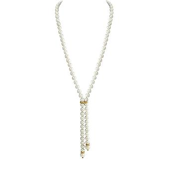 Eternal Collection Sloane White South Sea Shell Pearl Lariat Gold Tone Necklace