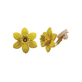 Eeuwige collectie Daffodil met trompet geel glazuur Petite Gold Tone Stud Clip op oorbellen