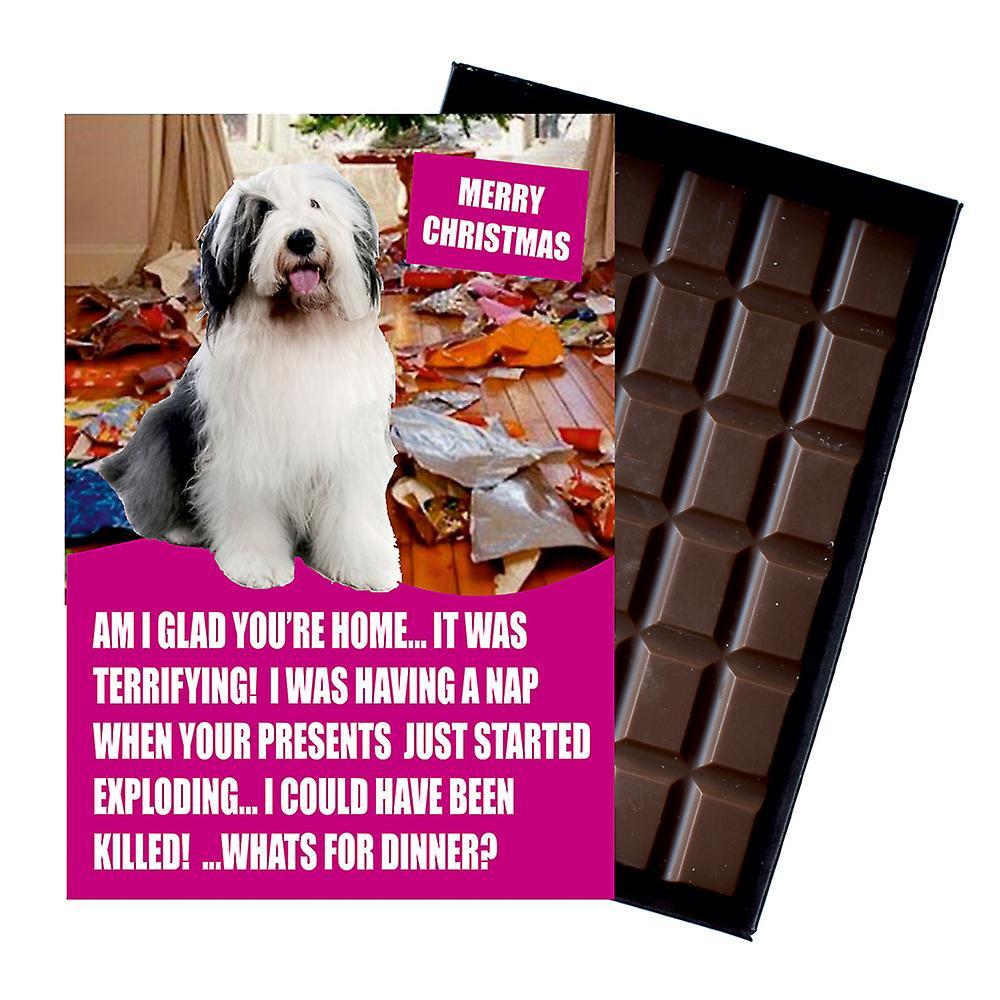 Old English Sheep Funny Christmas Gift For Dog Lover Chocolate Greeting Card Xmas Present