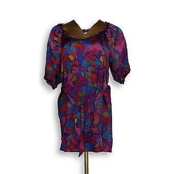 Marc Bouwer Printed Short Sleeve Belted Tunic Purple Top A202942
