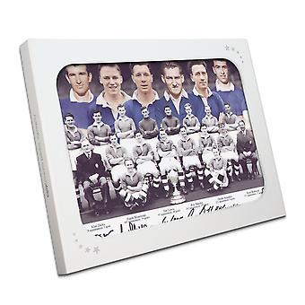 Équipe de Chelsea 1955 signé photographie dans une boîte cadeau