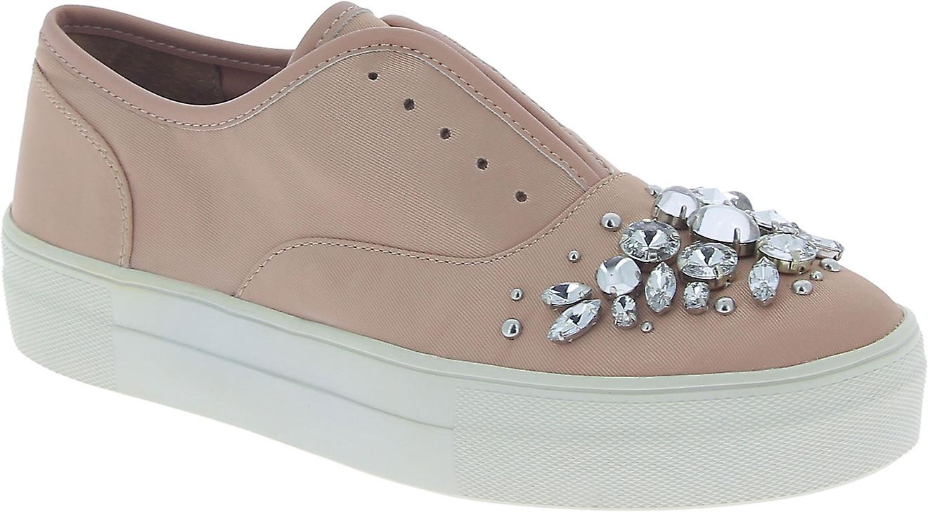 Steve Madden Women's fashion slip-on jewel studded shoes in pink canvas mr50S
