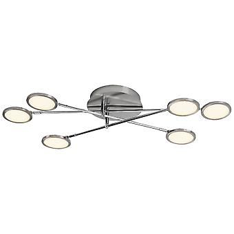Brilliant lamp Harlie LED wall and ceiling lamp 6flg nickel matt
