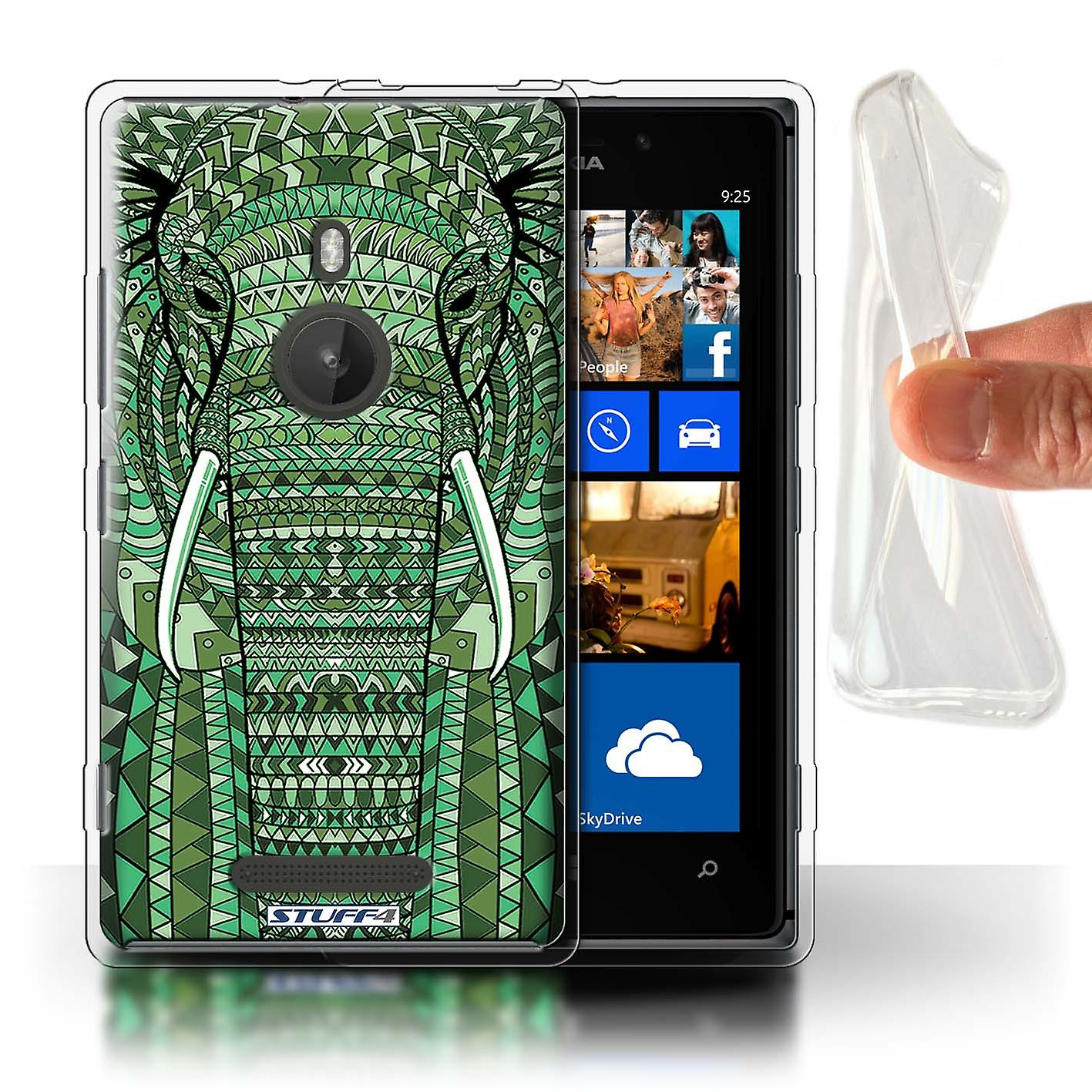 STUFF4 Gel TPU Case/Cover for Nokia Lumia 925/Elephant-Green/Aztec Animal