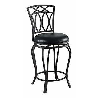 Chic traditional swivel counter height stool, black