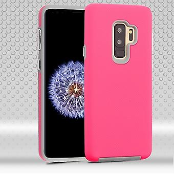 MYBAT Electric Pink Dots Textured/Light Gray Fusion Protector Cover  for Galaxy S9 Plus