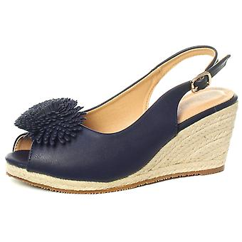 Cipriata Alessandra Womens Navy Buckle Wedge Heel Sandals