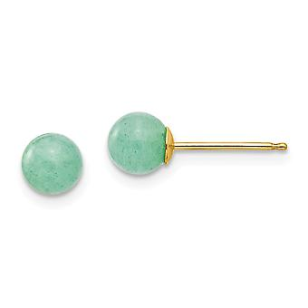 14k Yellow Gold Polished 5mm Green Natural Stone Post Earrings Jewelry Gifts for Women
