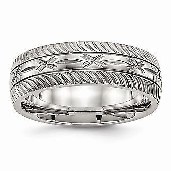 7mm acier inoxydable poli Sparkle Cut Ring Bijoux Cadeaux pour les femmes - Taille de l'anneau: 7 à 13