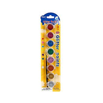 8 Assorted Glitter Waterbased Craft Paints in Pots with Paint Brush