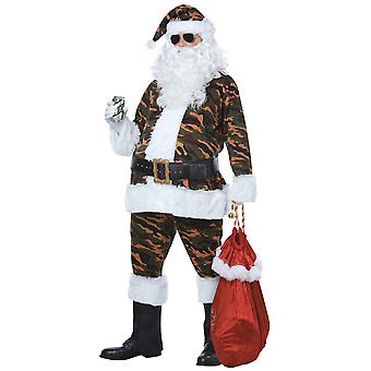 Camo Santa Claus Green Suit Military Camouflage Christmas Adult Mens Costume