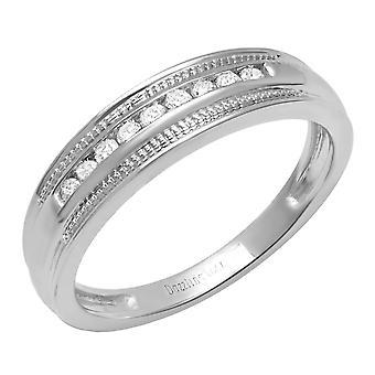 0.20 Carat (Ctw) 10K White Gold Round White Diamond Men's Wedding Stackable Band 1/5 CT