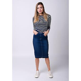 Mia raw hem denim skirt - indigo