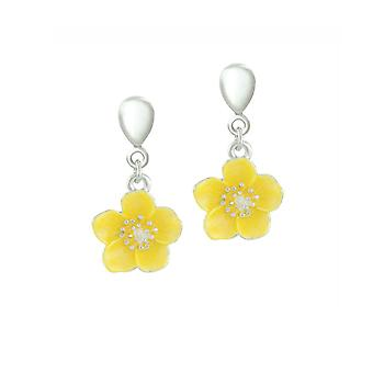 Eternal Collection Buttercup Yellow Enamel Flower Silver Tone Drop Screw Back Clip On Earrings
