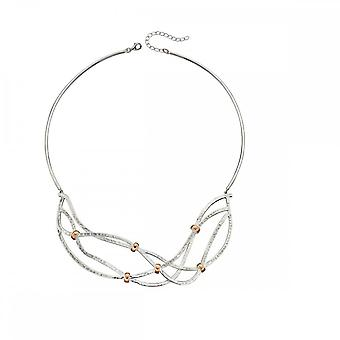 Elements Silver Hammered Rose Gold Plate Jump Ring Details Necklace N4301