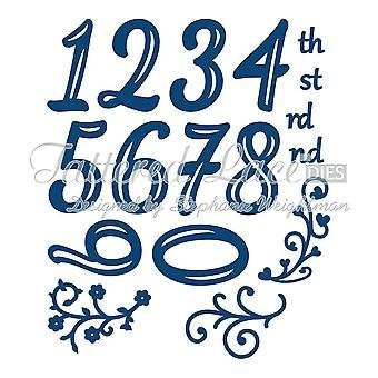tattered lace Huggables Numbers dies includes th, st,rd,nd, and flourishes D599