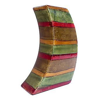 Nykyaikainen vihreä punainen ruskea kupari keraaminen lakka raita nojaava maljakko