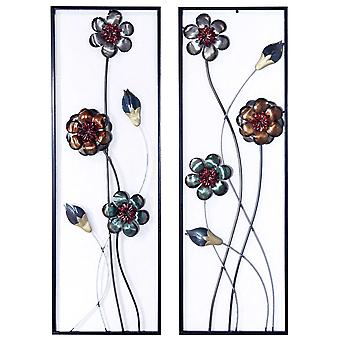 Metallic Floral Blooms Vertical Wall Art Set de 2