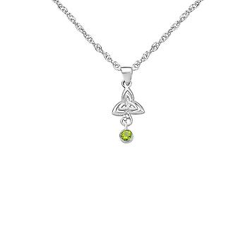 Celtic Holy Trinity Knot Necklace Pendant - A Real Peridot Gemstone - Includes A 20