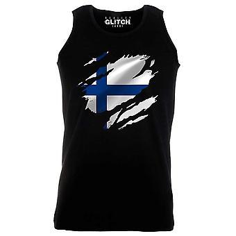Realität glitch gerissen finland Flagge Herren Weste