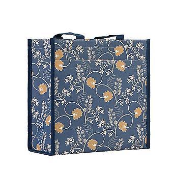 Jane austen blue reusable shopper bag by signare tapestry / shop-aust