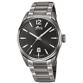 Lotus klocka L18684-1-stål Dateur grå svart urtavla män