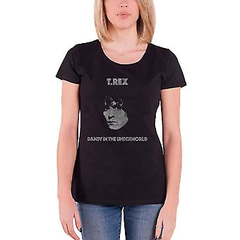 T Rex T Shirt Marc Bolan Dandy Logo new Official Womens Skinny Fit Black