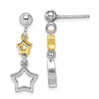 925 Sterling Silver Rhodium plated With Yellow Tone Star Long Drop Dangle Earrings Jewelry Gifts for Women