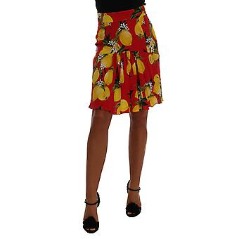 Dolce & Gabbana Red Lemon Print Pleated Skirt