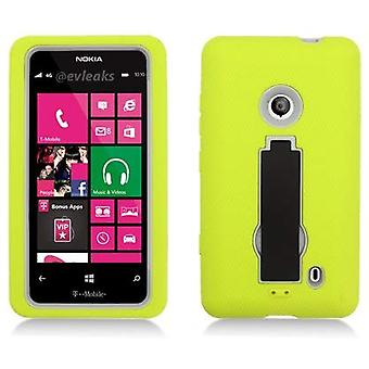 AIMO 3 in 1 Kickstand Layer Case for Nokia Lumia 521 - Green Skin/Gray Cover