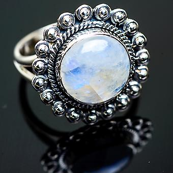 Rainbow Moonstone Ring Size 9 (925 Sterling Silver)  - Handmade Boho Vintage Jewelry RING996037