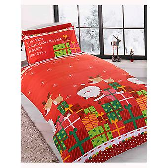 Caro Babbo Natale Singolo Duvet Copertina e Pillowcase Set