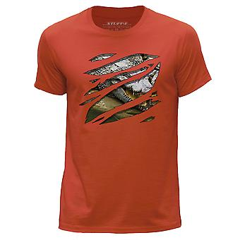 STUFF4 Men's Round Neck T-Shirt/Large Rip/Crocodile/Zoo Animal/Orange