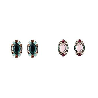Jewelcity Sparkle Womens/Ladies Vintage Effect Pave Jewelled Earrings