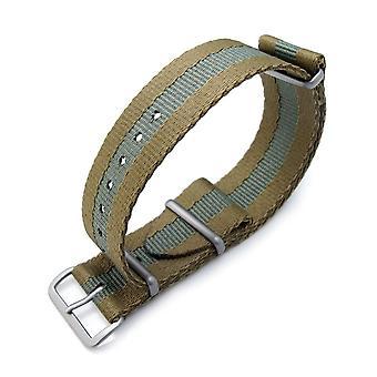 Strapcode n.a.t.o orologio cinghia miltat 20mm o 22mm g10 dovuto militare cinghia da orologio, sandwich nylon bracciale, spazzolato - verde militare