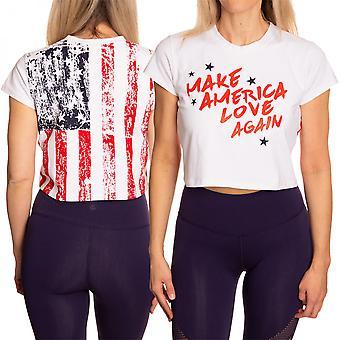 Make America Love Again Faded Flag Women's Crop Top