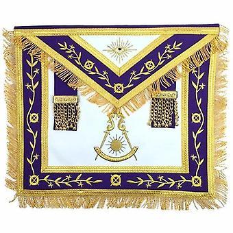 Masonic blue lodge past master gold machine embroidery freemason purple apron